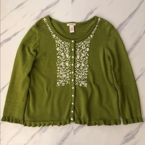 Sundance Floral Embroidered Cardigan Sweater sz L